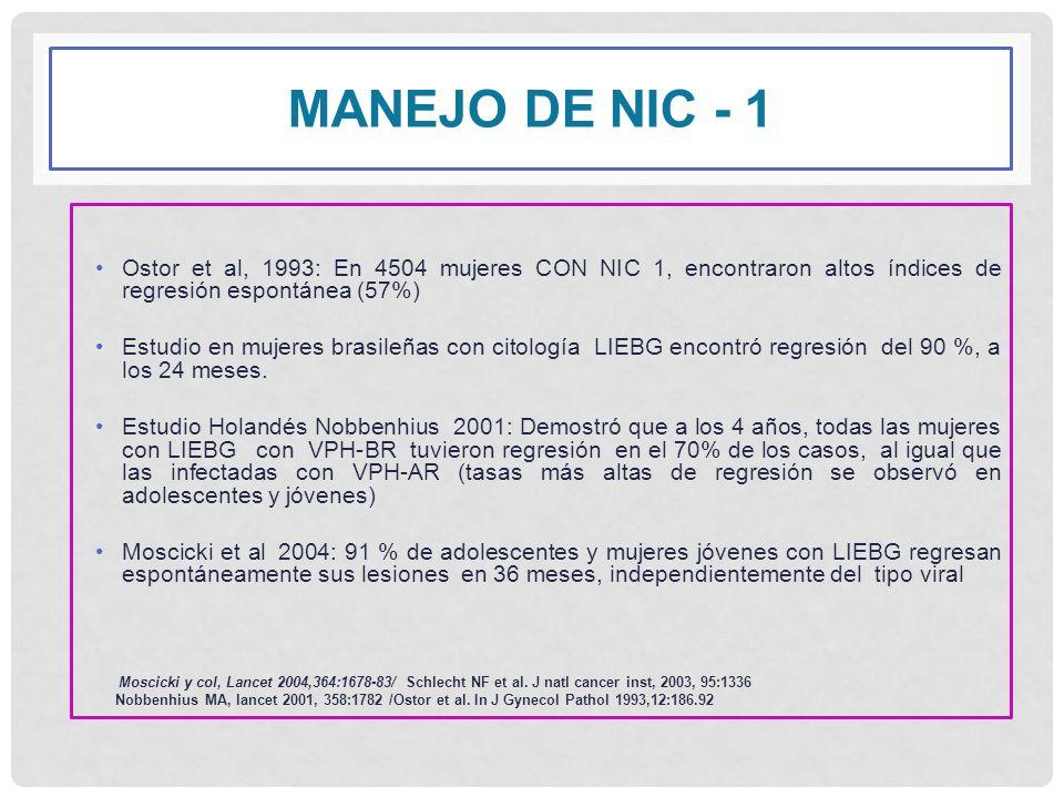 MANEJO DE NIC - 1 Ostor et al, 1993: En 4504 mujeres CON NIC 1, encontraron altos índices de regresión espontánea (57%) Estudio en mujeres brasileñas