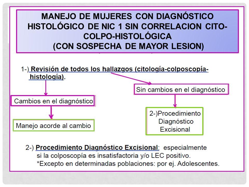 MANEJO DE MUJERES CON DIAGNÓSTICO HISTOLÓGICO DE NIC 1 SIN CORRELACION CITO- COLPO-HISTOLÓGICA (CON SOSPECHA DE MAYOR LESION)