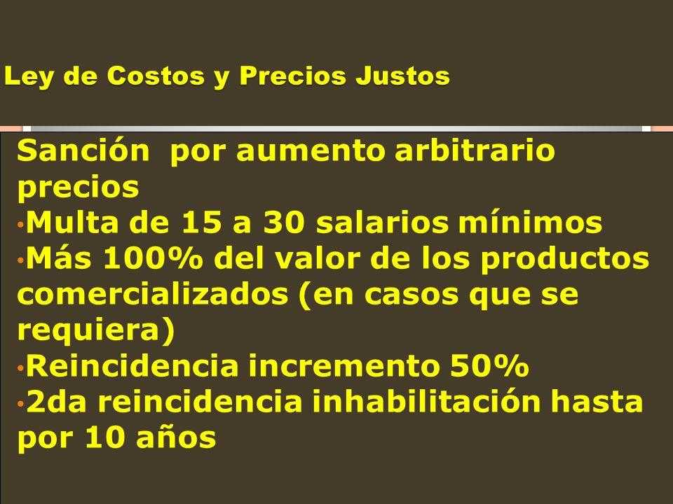Ley de Costos y Precios Justos Sanción por aumento arbitrario precios Multa de 15 a 30 salarios mínimos Más 100% del valor de los productos comerciali