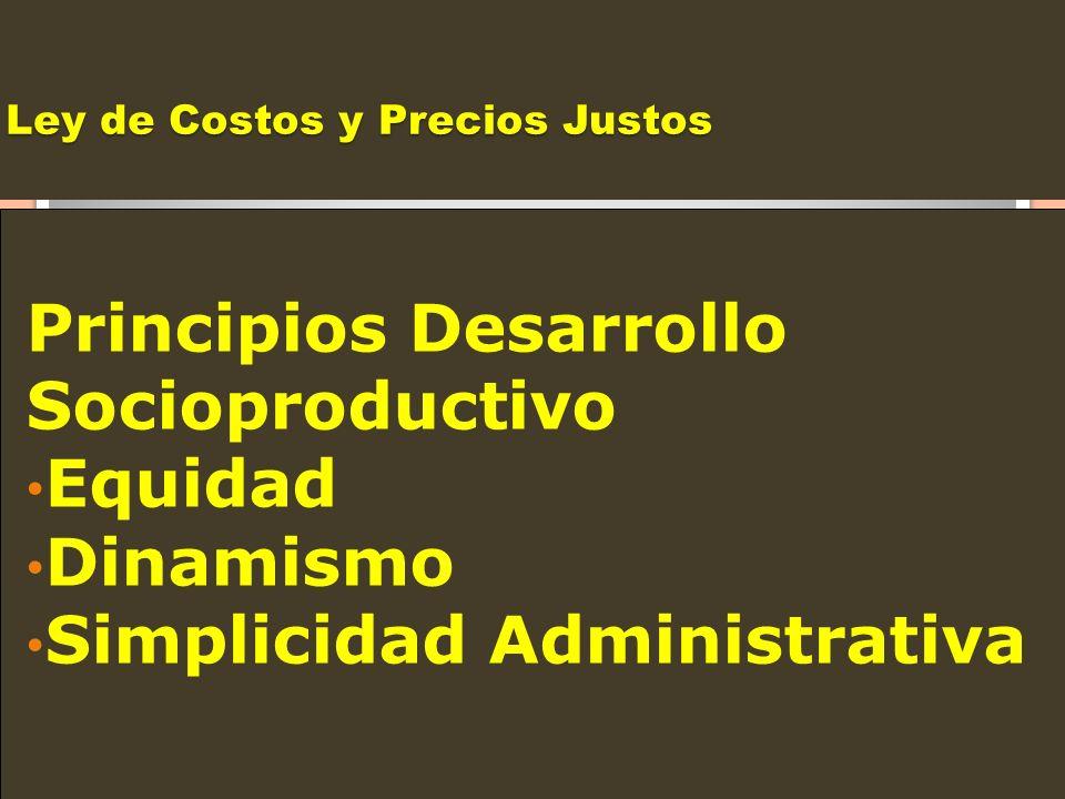 Ley de Costos y Precios Justos Principios Desarrollo Socioproductivo Equidad Dinamismo Simplicidad Administrativa