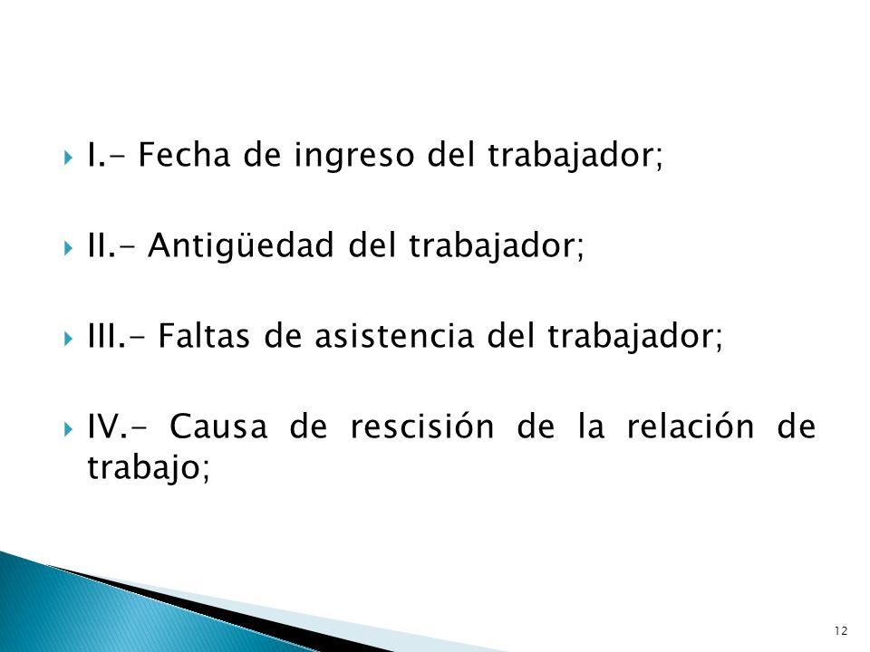 I.- Fecha de ingreso del trabajador; II.- Antigüedad del trabajador; III.- Faltas de asistencia del trabajador; IV.- Causa de rescisión de la relación