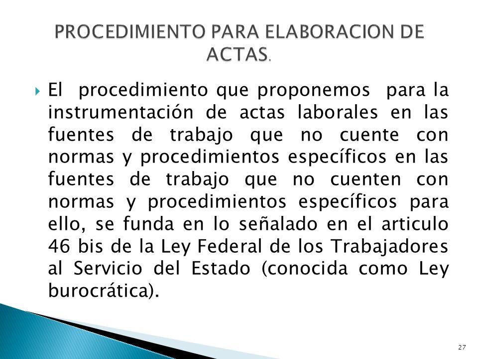 El procedimiento que proponemos para la instrumentación de actas laborales en las fuentes de trabajo que no cuente con normas y procedimientos específ
