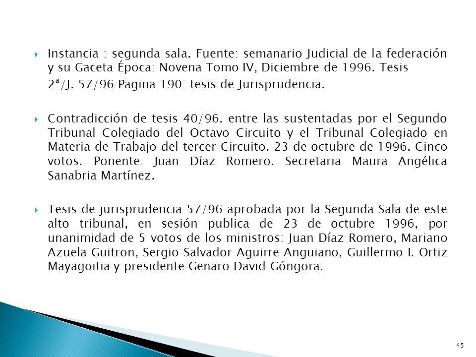 Instancia : segunda sala. Fuente: semanario Judicial de la federación y su Gaceta Época: Novena Tomo IV, Diciembre de 1996. Tesis 2ª/J. 57/96 Pagina 1