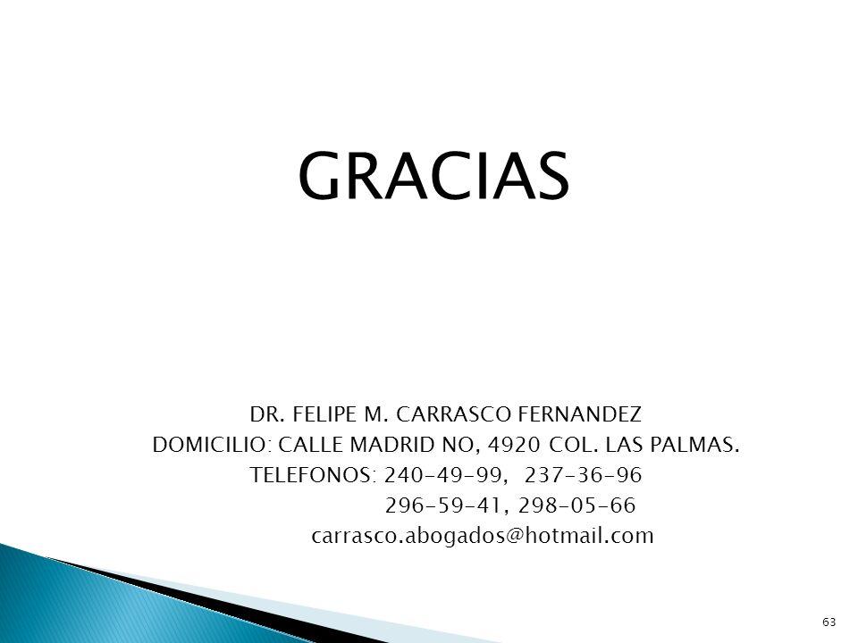 GRACIAS DR. FELIPE M. CARRASCO FERNANDEZ DOMICILIO: CALLE MADRID NO, 4920 COL. LAS PALMAS. TELEFONOS: 240-49-99, 237-36-96 296-59-41, 298-05-66 carras