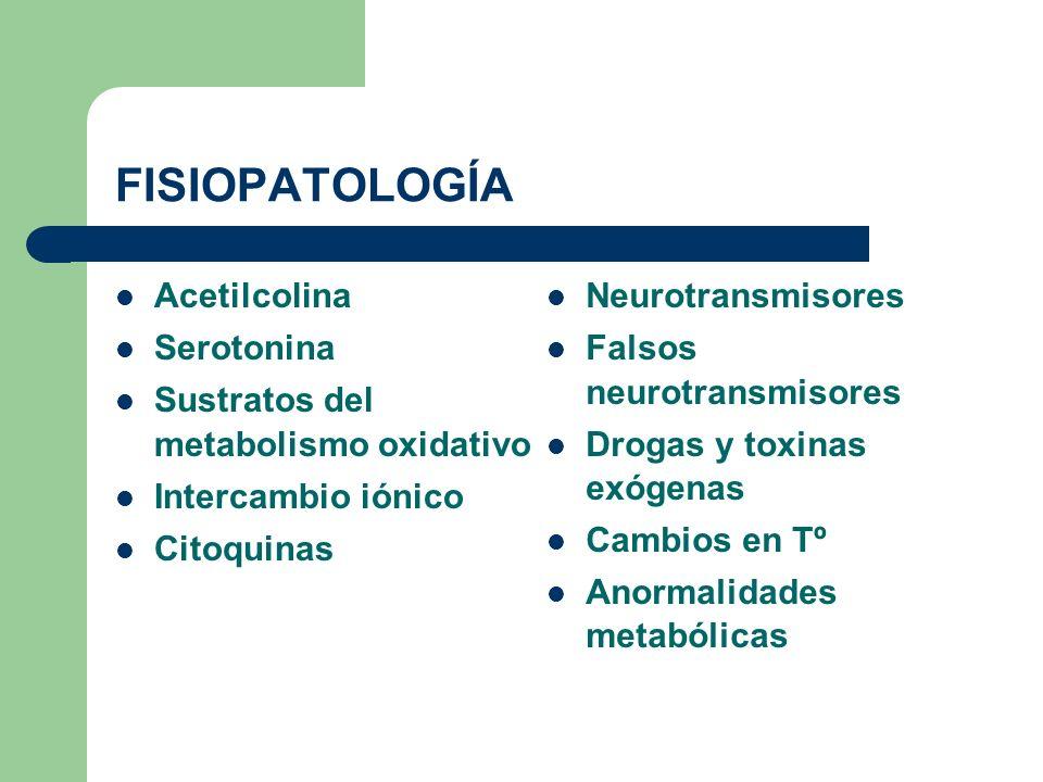 FISIOPATOLOGÍA Acetilcolina Serotonina Sustratos del metabolismo oxidativo Intercambio iónico Citoquinas Neurotransmisores Falsos neurotransmisores Dr