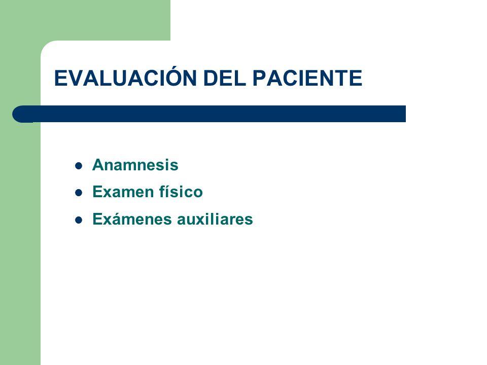 EVALUACIÓN DEL PACIENTE Anamnesis Examen físico Exámenes auxiliares