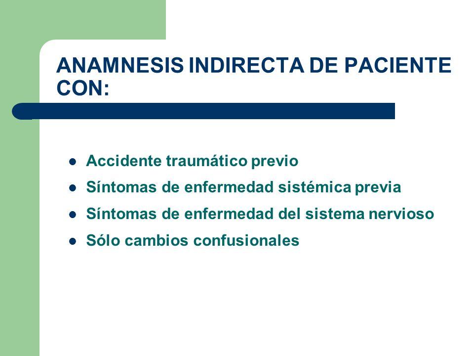 ANAMNESIS INDIRECTA DE PACIENTE CON: Accidente traumático previo Síntomas de enfermedad sistémica previa Síntomas de enfermedad del sistema nervioso S