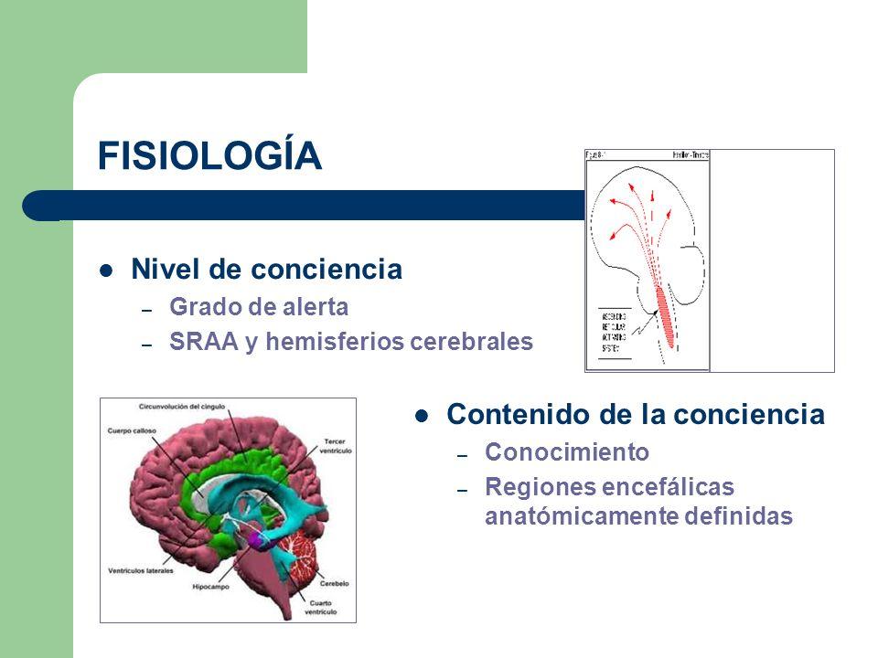 FISIOLOGÍA Nivel de conciencia – Grado de alerta – SRAA y hemisferios cerebrales Contenido de la conciencia – Conocimiento – Regiones encefálicas anat
