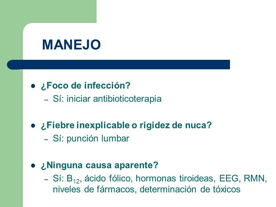 ¿Foco de infección? – Sí: iniciar antibioticoterapia ¿Fiebre inexplicable o rigidez de nuca? – Sí: punción lumbar ¿Ninguna causa aparente? – Sí: B 12,