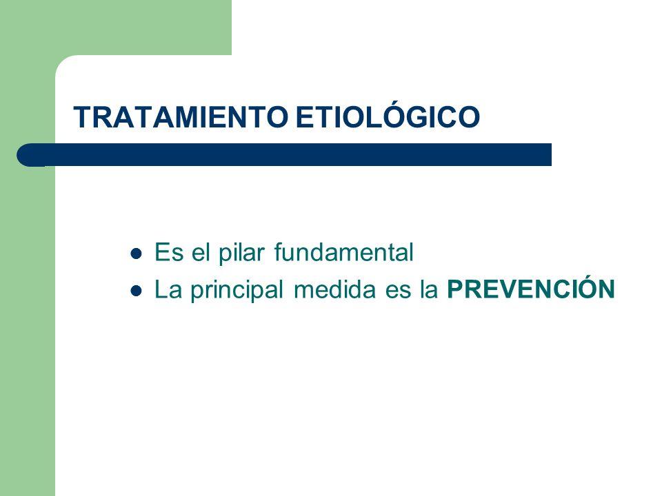 TRATAMIENTO ETIOLÓGICO Es el pilar fundamental La principal medida es la PREVENCIÓN