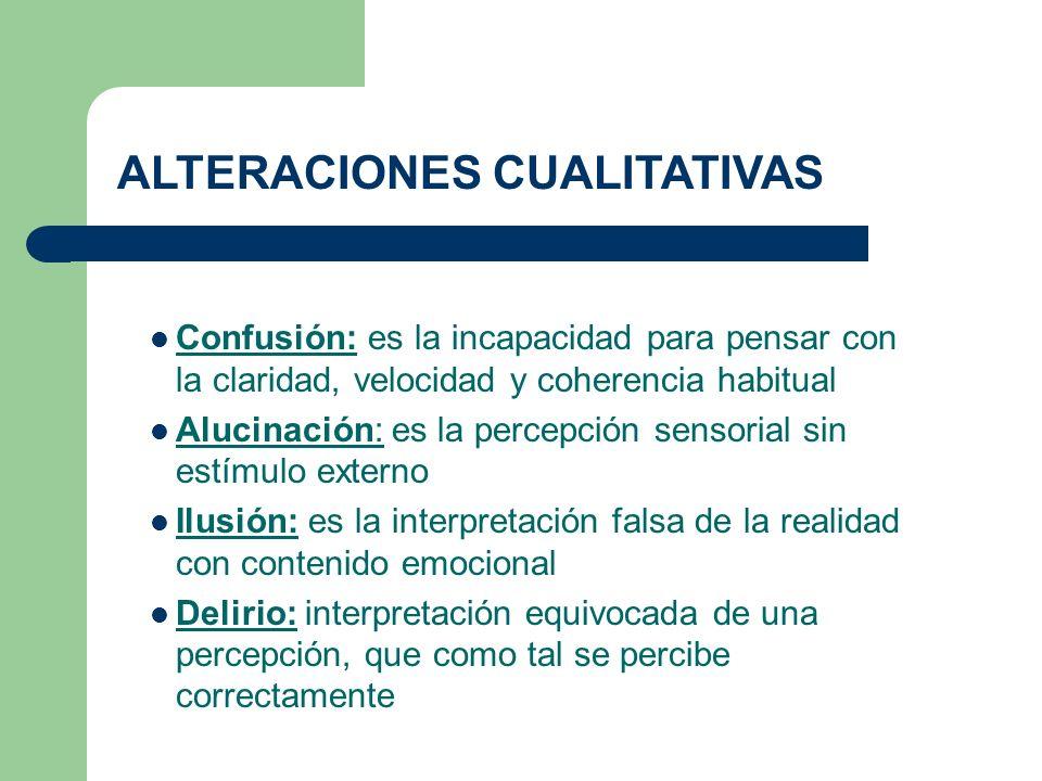 Confusión: es la incapacidad para pensar con la claridad, velocidad y coherencia habitual Alucinación: es la percepción sensorial sin estímulo externo