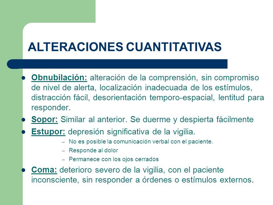 Obnubilación: alteración de la comprensión, sin compromiso de nivel de alerta, localización inadecuada de los estímulos, distracción fácil, desorienta