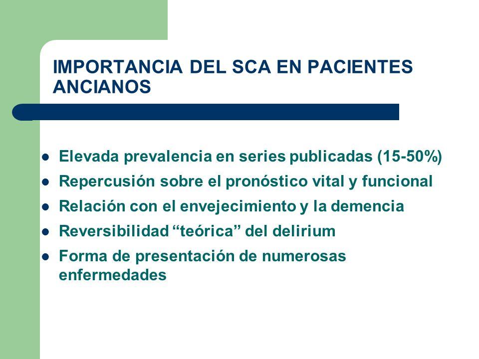 IMPORTANCIA DEL SCA EN PACIENTES ANCIANOS Elevada prevalencia en series publicadas (15-50%) Repercusión sobre el pronóstico vital y funcional Relación