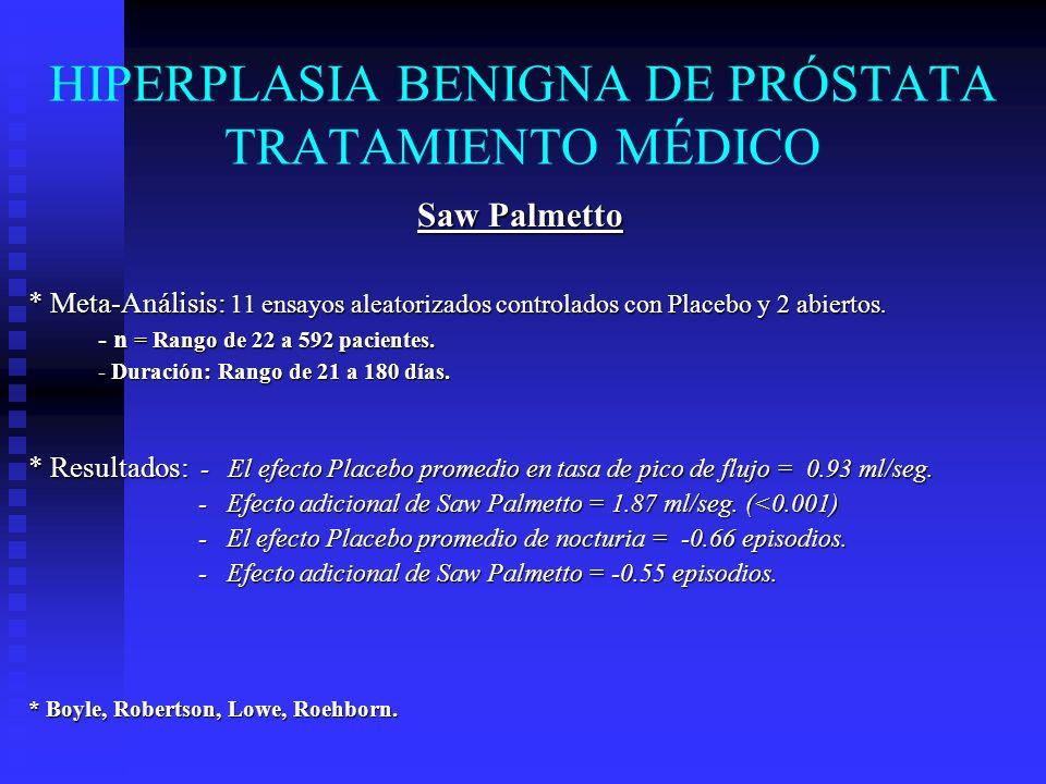 HIPERPLASIA BENIGNA DE PRÓSTATA TRATAMIENTO MÉDICO Saw Palmetto * Meta-Análisis: 11 ensayos aleatorizados controlados con Placebo y 2 abiertos. - n =