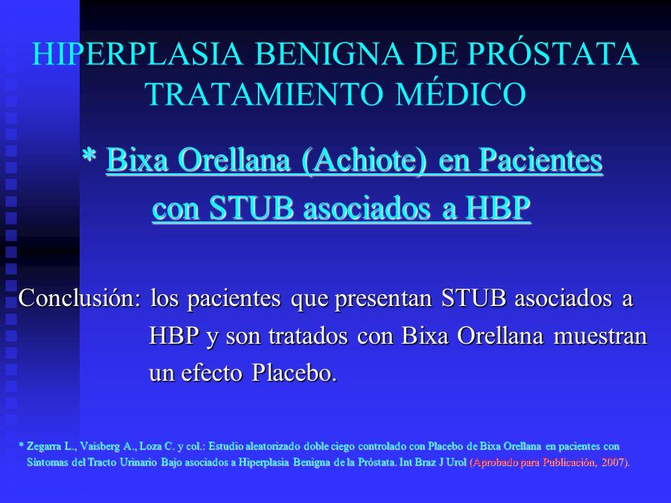 HIPERPLASIA BENIGNA DE PRÓSTATA TRATAMIENTO MÉDICO * Bixa Orellana (Achiote) en Pacientes con STUB asociados a HBP Conclusión: los pacientes que prese