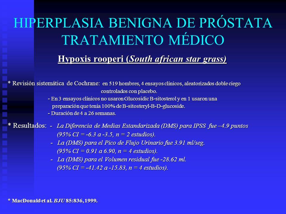 HIPERPLASIA BENIGNA DE PRÓSTATA TRATAMIENTO MÉDICO Pygeum Africanum * Meta-Análisis de Cochrane: 18 ensayos clínicos con 1,562 hombres, 7 controlados con placebo.