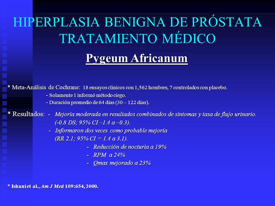 HIPERPLASIA BENIGNA DE PRÓSTATA TRATAMIENTO MÉDICO Pygeum Africanum * Meta-Análisis de Cochrane: 18 ensayos clínicos con 1,562 hombres, 7 controlados