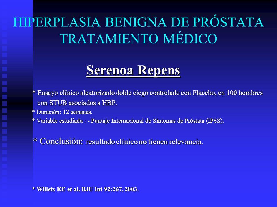 HIPERPLASIA BENIGNA DE PRÓSTATA TRATAMIENTO MÉDICO Serenoa Repens * Ensayo clínico aleatorizado doble ciego controlado con Placebo, en 100 hombres * E