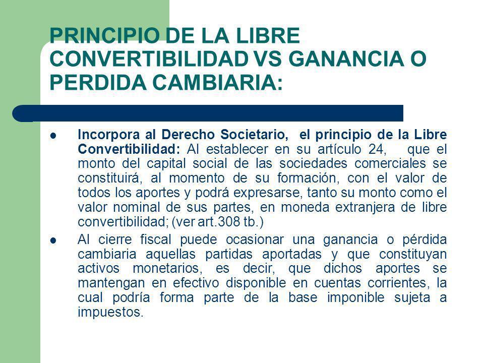 Incorpora al Derecho Societario, el principio de la Libre Convertibilidad: Al establecer en su artículo 24, que el monto del capital social de las soc