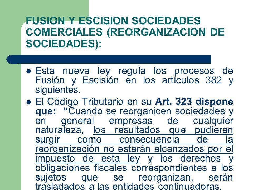 FUSION Y ESCISION SOCIEDADES COMERCIALES (REORGANIZACION DE SOCIEDADES): Esta nueva ley regula los procesos de Fusión y Escisión en los artículos 382