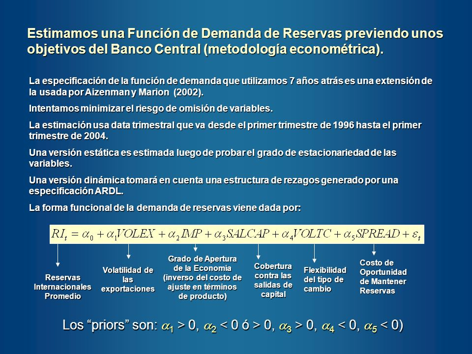 La especificación de la función de demanda que utilizamos 7 años atrás es una extensión de la usada por Aizenman y Marion (2002). Intentamos minimizar