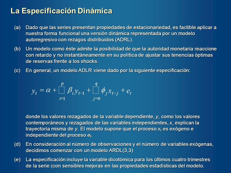 (a)Dado que las series presentan propiedades de estacionariedad, es factible aplicar a nuestra forma funcional una versión dinámica representada por u