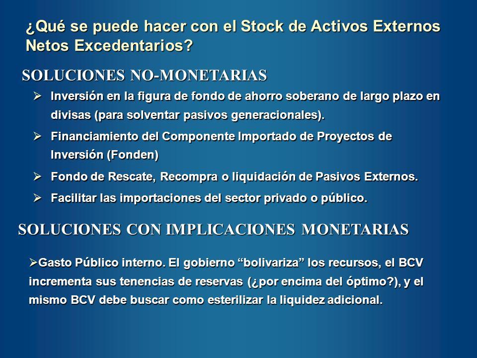 SOLUCIONES NO-MONETARIAS Inversión en la figura de fondo de ahorro soberano de largo plazo en divisas (para solventar pasivos generacionales). Inversi