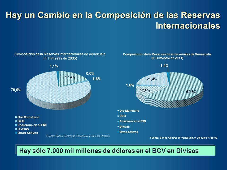 Hay un Cambio en la Composición de las Reservas Internacionales Hay sólo 7.000 mil millones de dólares en el BCV en Divisas