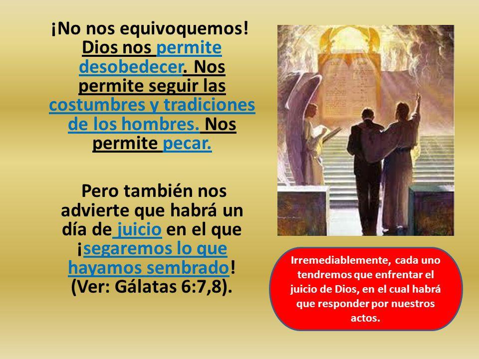 ¡No nos equivoquemos! Dios nos permite desobedecer. Nos permite seguir las costumbres y tradiciones de los hombres. Nos permite pecar. Pero también no