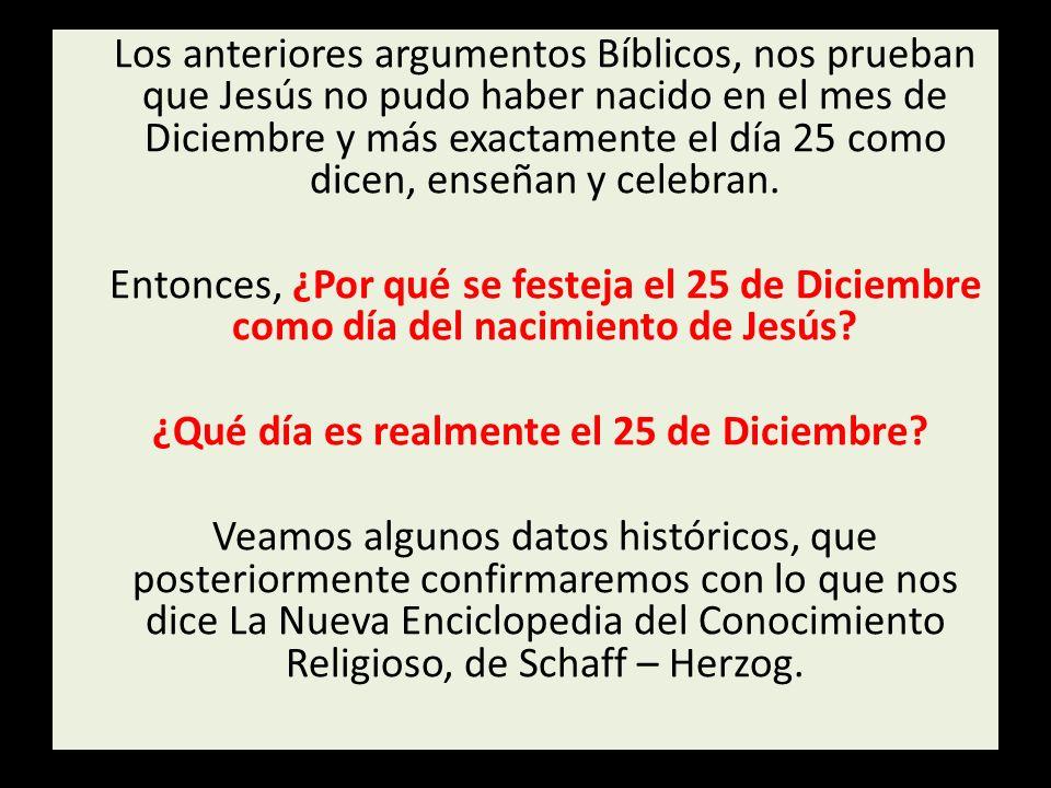 Los anteriores argumentos Bíblicos, nos prueban que Jesús no pudo haber nacido en el mes de Diciembre y más exactamente el día 25 como dicen, enseñan