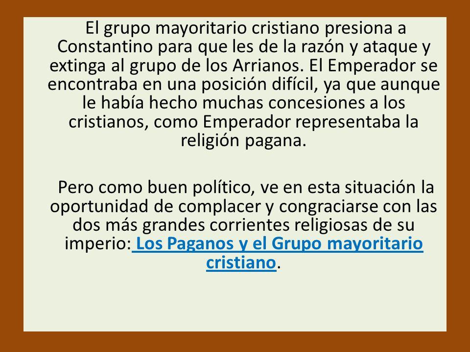 El grupo mayoritario cristiano presiona a Constantino para que les de la razón y ataque y extinga al grupo de los Arrianos. El Emperador se encontraba
