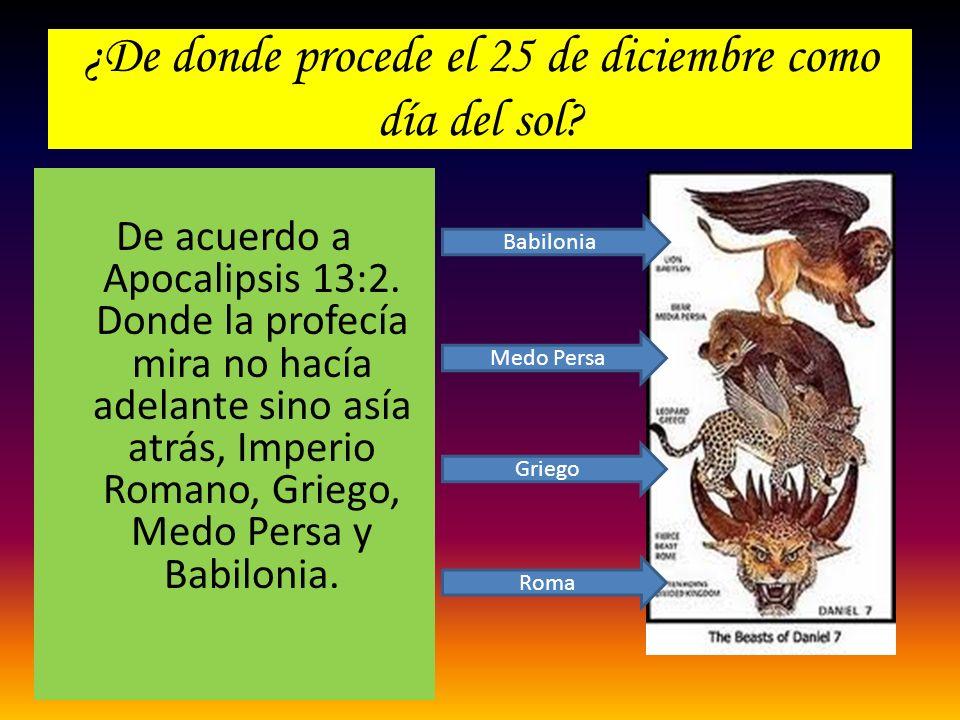 ¿De donde procede el 25 de diciembre como día del sol? De acuerdo a Apocalipsis 13:2. Donde la profecía mira no hacía adelante sino asía atrás, Imperi