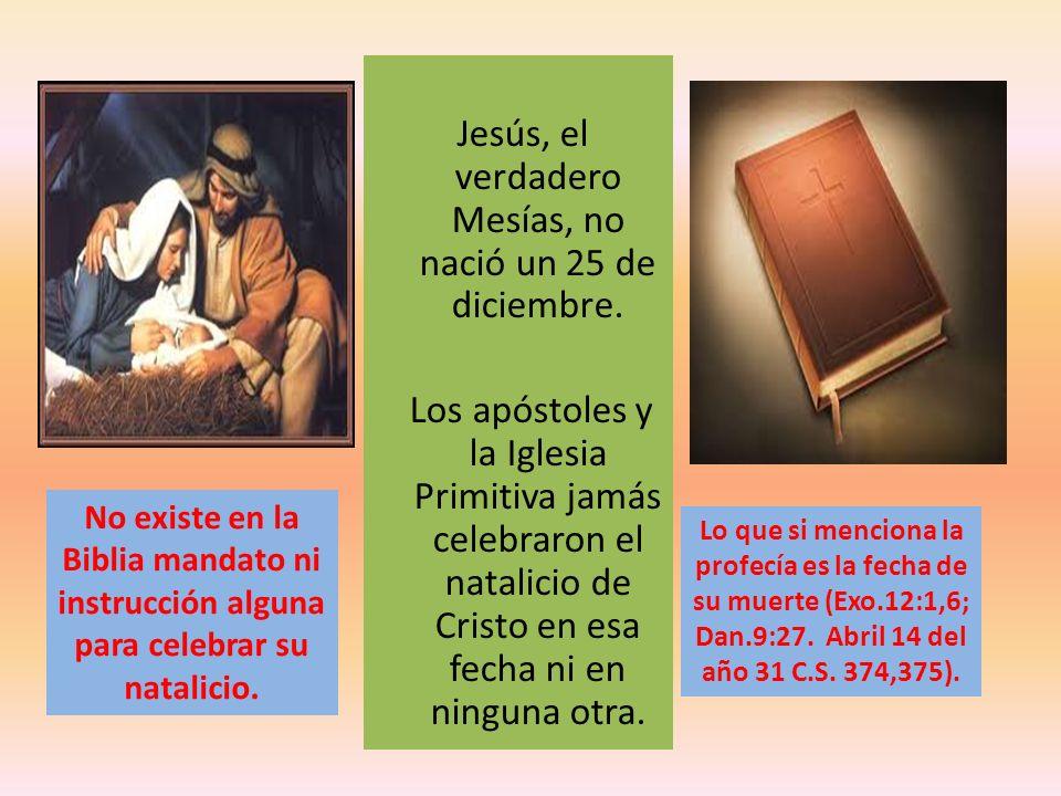 Jesús, el verdadero Mesías, no nació un 25 de diciembre. Los apóstoles y la Iglesia Primitiva jamás celebraron el natalicio de Cristo en esa fecha ni