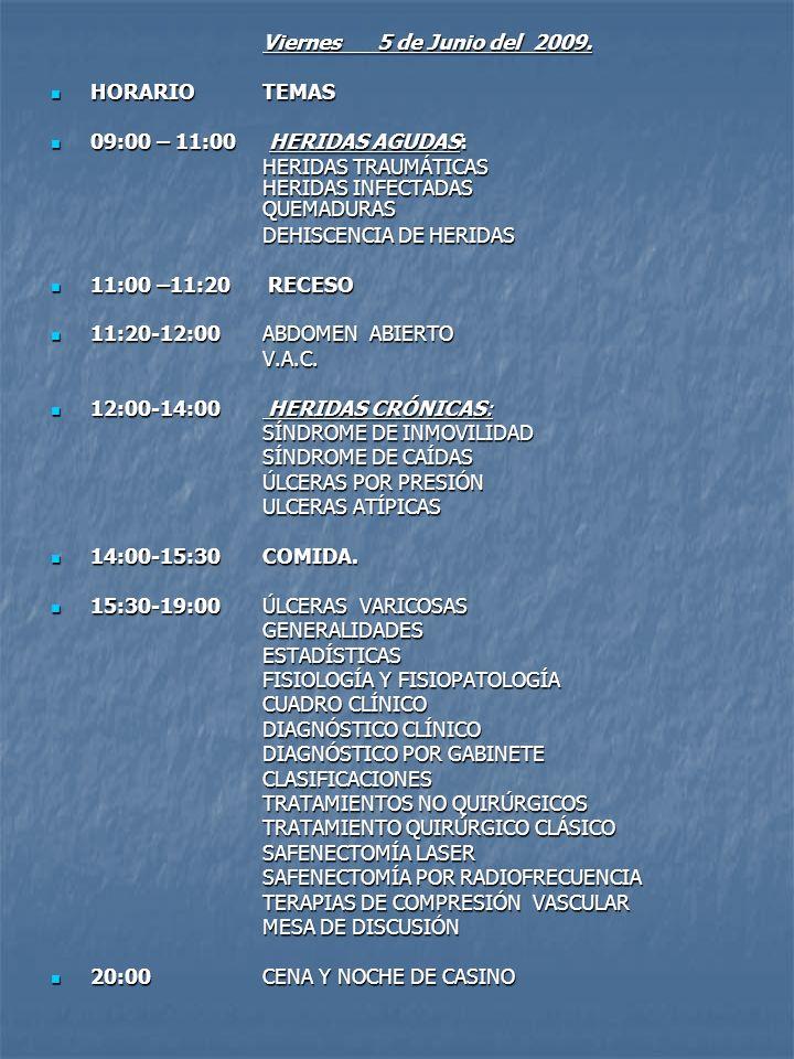 Sábado 6 de Junio del 2009 HORARIO TEMAS HORARIO TEMAS 09:00- 11:00 TERAPIAS COMPLEMENTARIAS 09:00- 11:00 TERAPIAS COMPLEMENTARIASOZONOTERAPIA MEDICINA HIPERBÁRICA ELECTROIONIZACIÓN AÉREA HOMEOPATÍA Y HOMOTOXICOLOGÍA HIPERTERMIA ULTRASONIDOLASER 11:00-11:30RECESO 11:00-11:30RECESO 11:30-14:00PIE DIABÉTICO (PRIMERA PARTE) 11:30-14:00PIE DIABÉTICO (PRIMERA PARTE)GENERALIDADESESTADISTICASFISIOPATOLOGÍACLASIFICACIONES MANEJO PREVENTIVO PODOLÓGICO 14:00-15:30COMIDA 14:00-15:30COMIDA 15:30-19:00PIE DIABÉTICO (SEGUNDA PARTE) CUADRO CLINICO 15:30-19:00PIE DIABÉTICO (SEGUNDA PARTE) CUADRO CLINICO CONTROL METABOLICO DEL DIABÉTICO PIE DIABÉTICO NEUROPÁTICO PIE DIABÉTICO ISQUÉMICO PIE DIABÉTICO INFECTADO RECESO PIE DE CHARCOT PIE DIABÉTICO COMPLICADO Y SALVAMENTO DE EXTREMIDADES MANEJO MULTIDISCIPLINARIO 19:00-19:30 MESA DE DISCUSIÓN 19:00-19:30 MESA DE DISCUSIÓN 19:30 hrs.