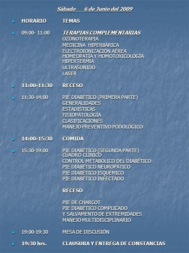 Sábado 6 de Junio del 2009 HORARIO TEMAS HORARIO TEMAS 09:00- 11:00 TERAPIAS COMPLEMENTARIAS 09:00- 11:00 TERAPIAS COMPLEMENTARIASOZONOTERAPIA MEDICIN