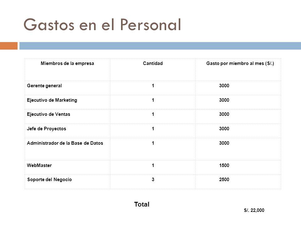 Gastos en el Personal Miembros de la empresaCantidad Gasto por miembro al mes (S/.) Gerente general1 3000 Ejecutivo de Marketing1 3000 Ejecutivo de Ve