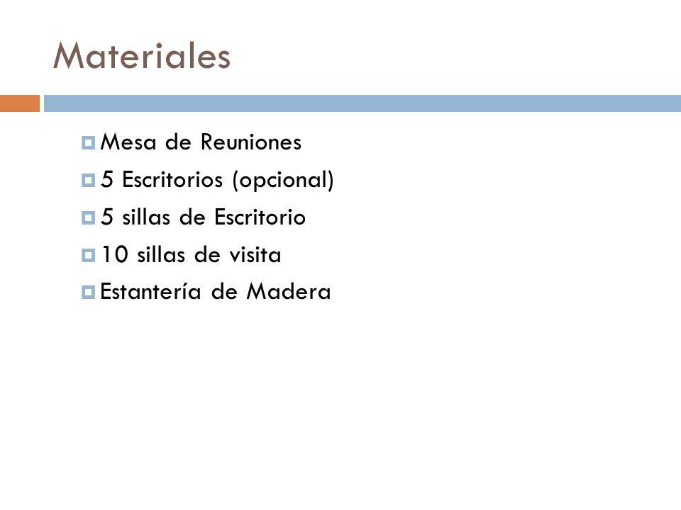Materiales Mesa de Reuniones 5 Escritorios (opcional) 5 sillas de Escritorio 10 sillas de visita Estantería de Madera