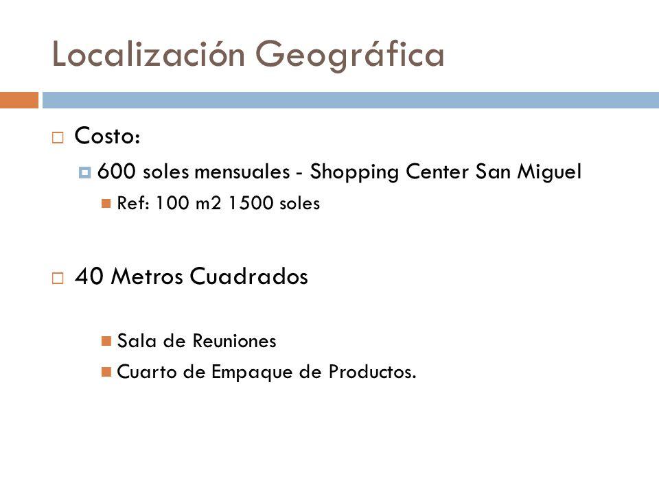 Localización Geográfica Costo: 600 soles mensuales - Shopping Center San Miguel Ref: 100 m2 1500 soles 40 Metros Cuadrados Sala de Reuniones Cuarto de