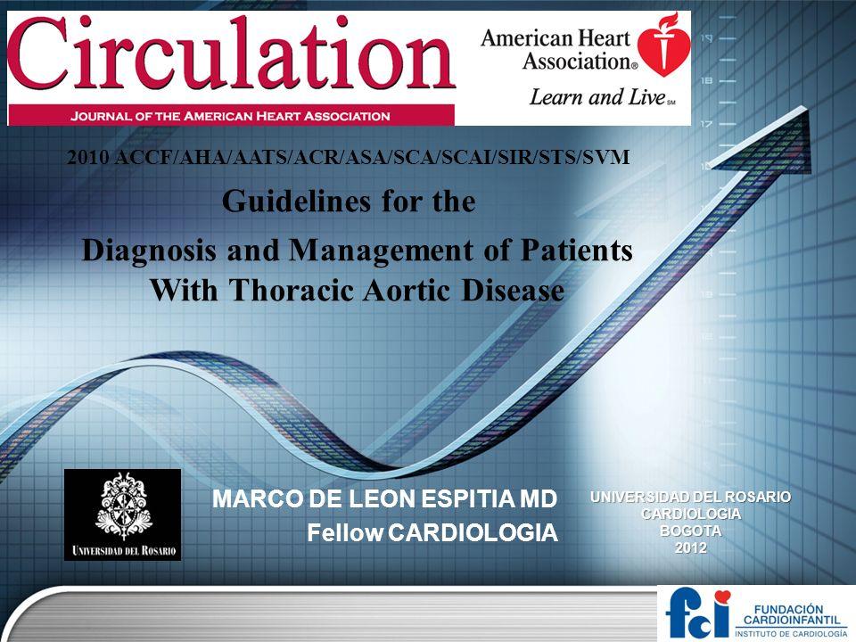 Otras condiciones cardiovasculares asociadas Con aneurisma de aorta torácica y disección.
