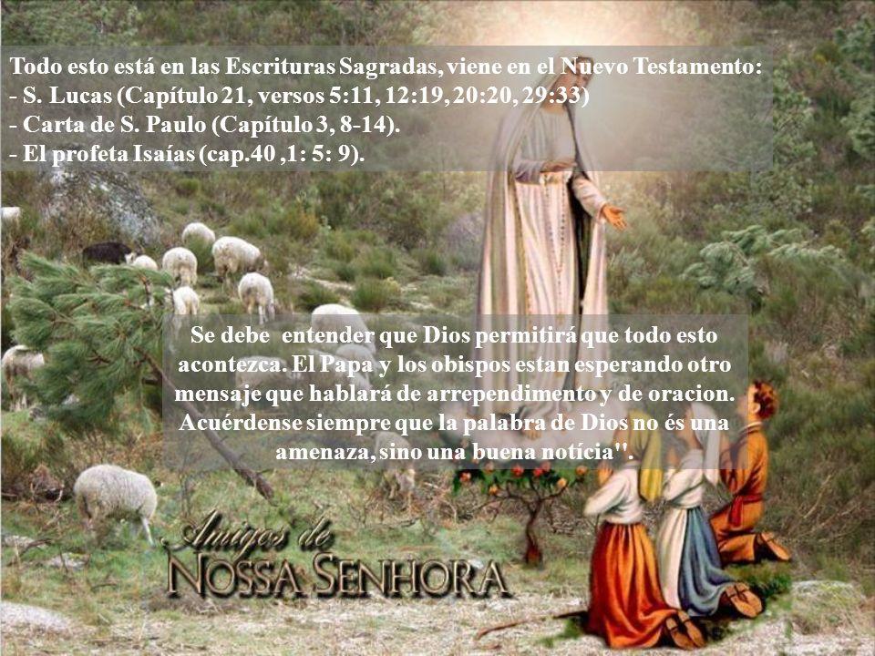 Todo esto está en las Escrituras Sagradas, viene en el Nuevo Testamento: - S.