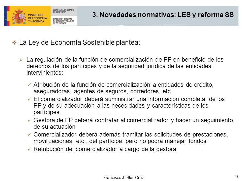 Francisco J. Blas Cruz 10 3. Novedades normativas: LES y reforma SS La Ley de Economía Sostenible plantea: La regulación de la función de comercializa