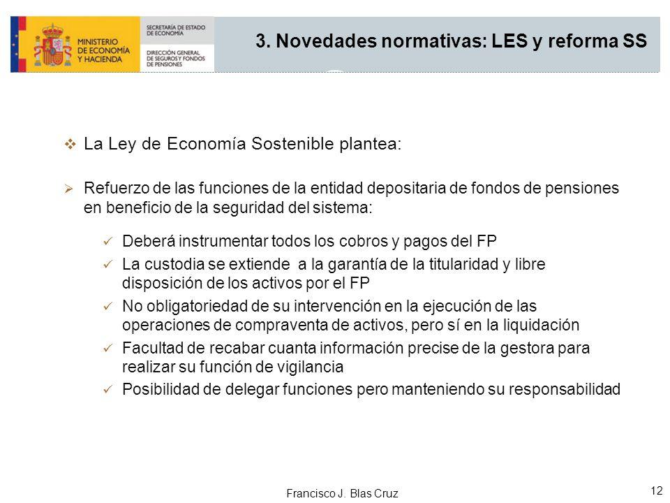 Francisco J. Blas Cruz 12 La Ley de Economía Sostenible plantea: Refuerzo de las funciones de la entidad depositaria de fondos de pensiones en benefic