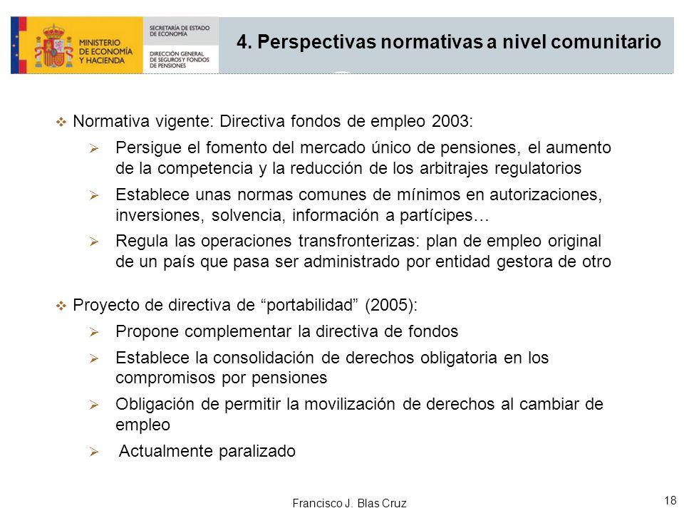 Francisco J. Blas Cruz 18 4. Perspectivas normativas a nivel comunitario Normativa vigente: Directiva fondos de empleo 2003: Persigue el fomento del m