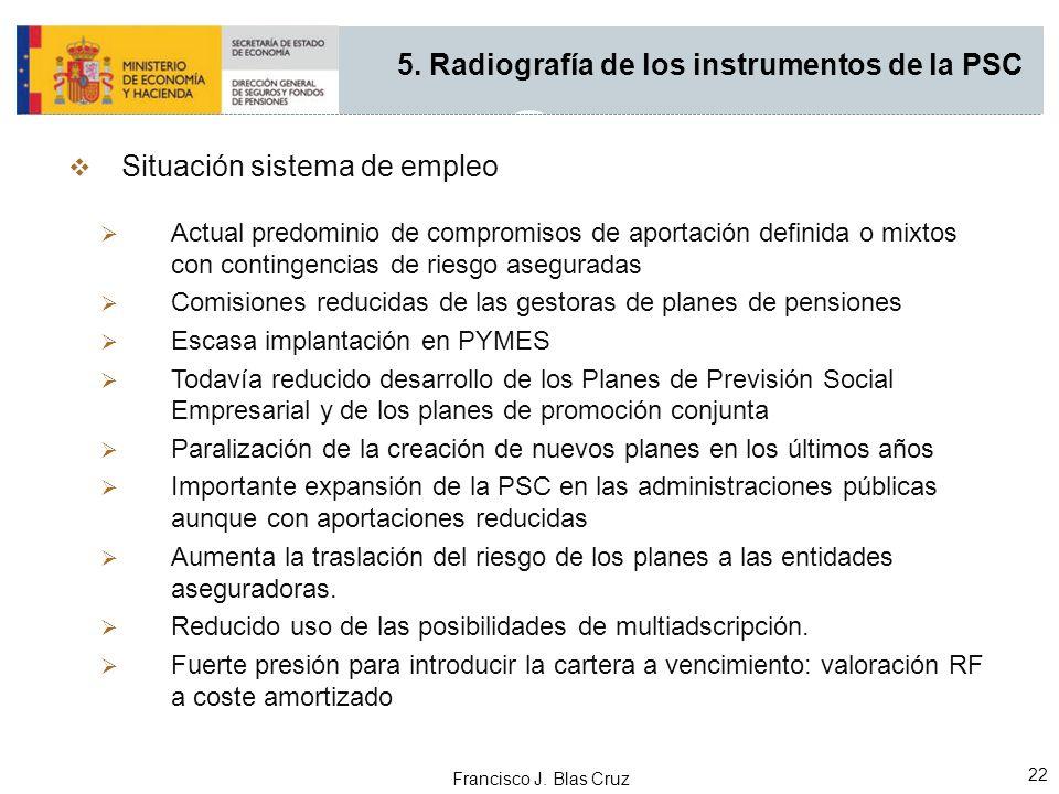 Francisco J. Blas Cruz 22 Situación sistema de empleo Actual predominio de compromisos de aportación definida o mixtos con contingencias de riesgo ase