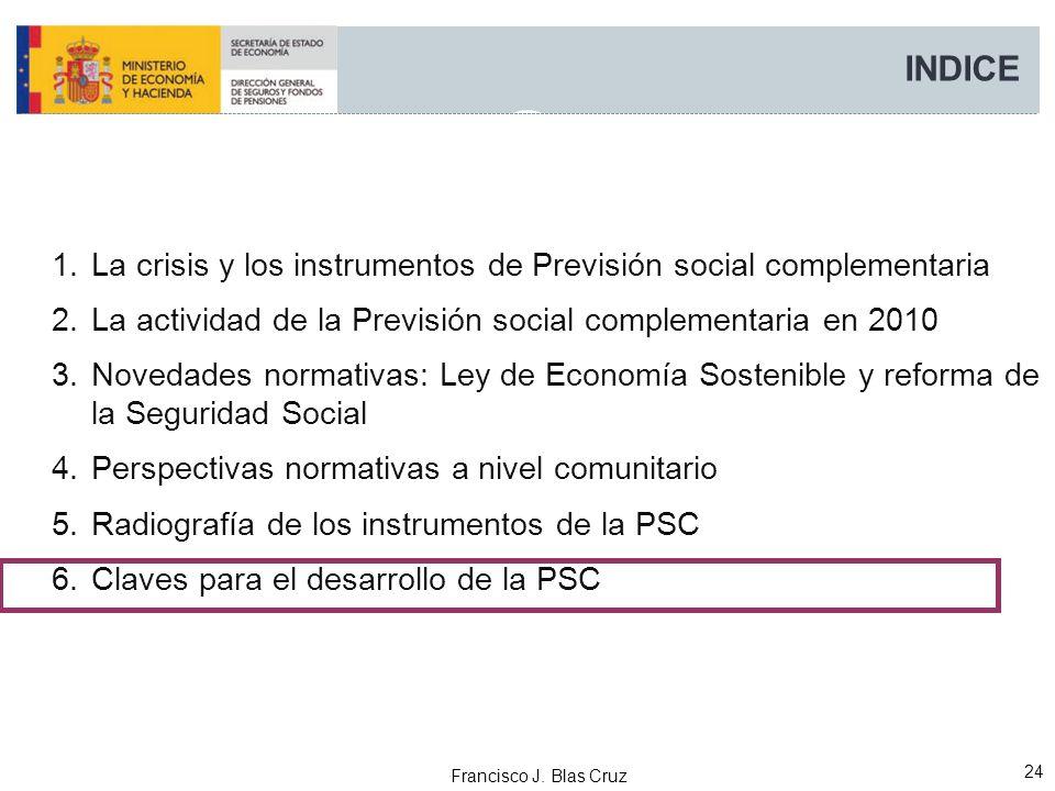 Francisco J. Blas Cruz 24 INDICE 1.La crisis y los instrumentos de Previsión social complementaria 2.La actividad de la Previsión social complementari