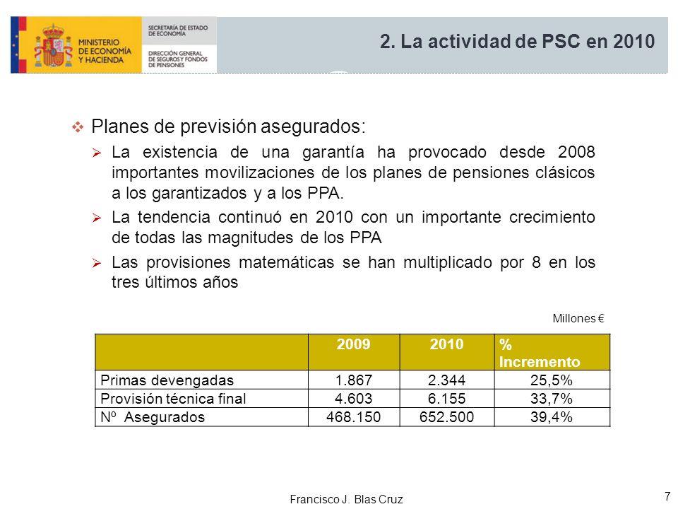 Francisco J. Blas Cruz 7 Planes de previsión asegurados: La existencia de una garantía ha provocado desde 2008 importantes movilizaciones de los plane