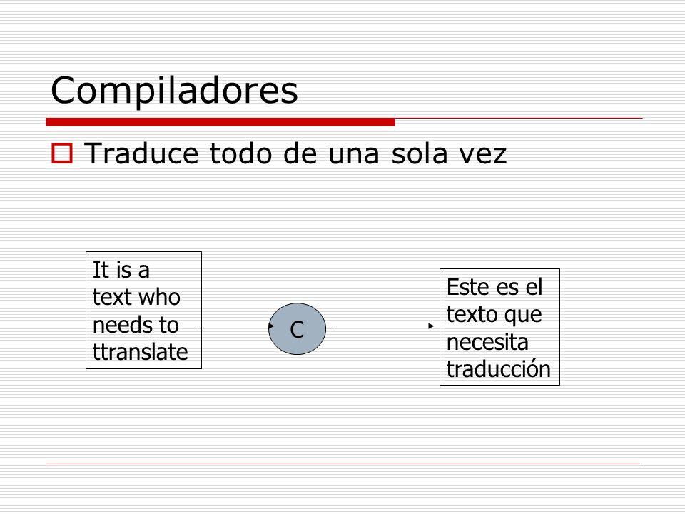 Traductores Programa que traduce texto escrito en un lenguaje a otro lenguaje Compiladores Interpretes