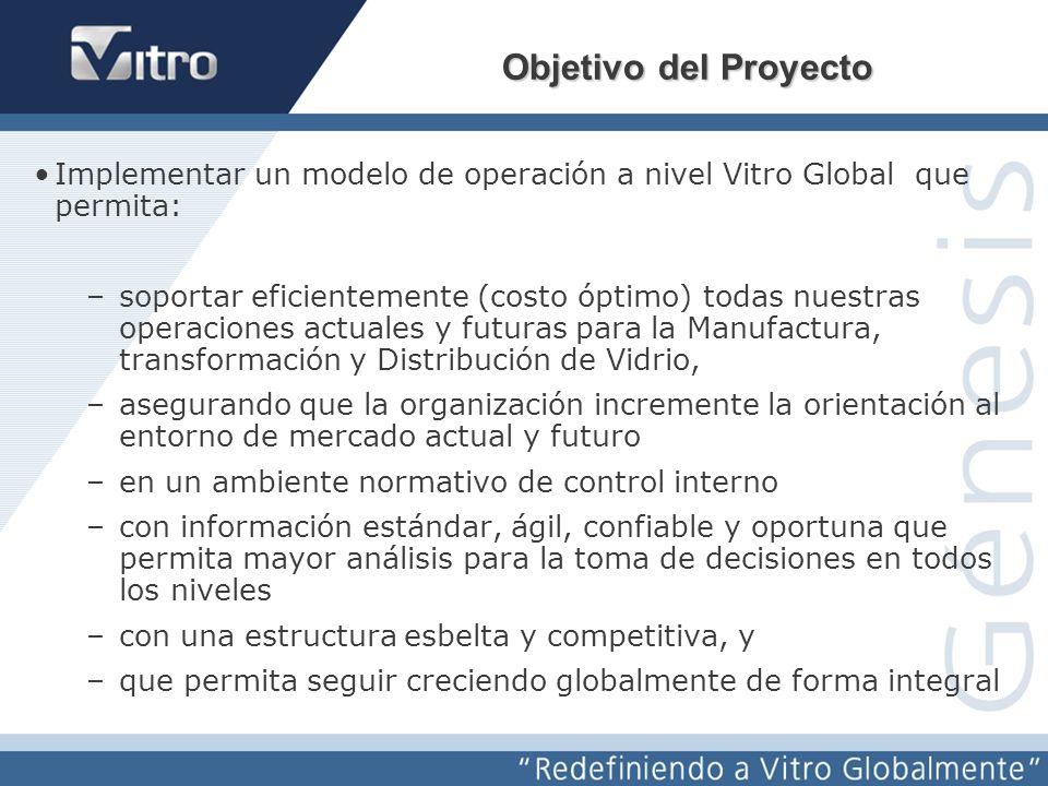 Redefiniendo a Vitro Globalmente Génesis Implantando el modelo de operación global de Vitro apoyándonos en una herramienta tecnológica de vanguardia (SAP) –Estandarización y optimización de procesos –Enfoque a beneficios y prioridades del Negocio –Orientación a fuentes únicas de información desde su origen y en forma oportuna y confiable –Aplicando mejores prácticas –Uso de estándares probados con SAP –Incorporando los esquemas de control interno y su documentación (SAROX) –Se ha integrado un equipo de Vitro de primera línea que asegurará la aplicación correcta a nuestras necesidades –Apoyo de una firma de consultoría con experiencia –Se ha adquirido la herramienta líder a nivel mundial SAP ¿Cómo Conseguimos los objetivos?