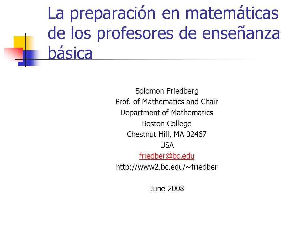Esto es (parte de) nuestro trabajo Enseñar bien matemáticas requiere pedagogical content knowledge (Liping Ma).