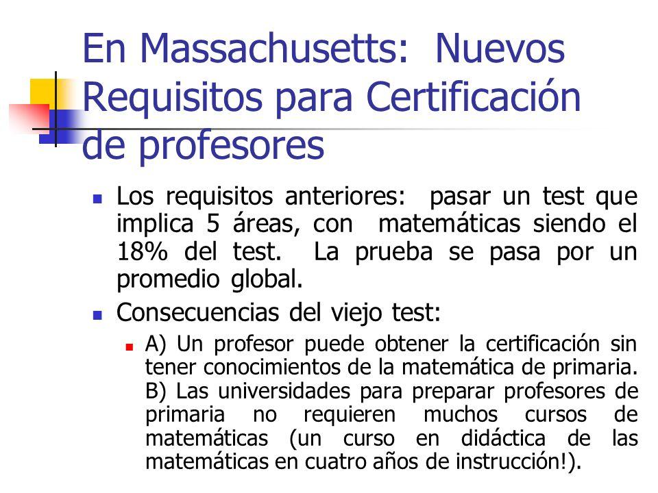 Nuevos requisitos: test de matemáticas separado del test de matemáticas para primaria- a un nivel sofisticado.